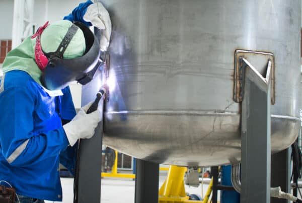 GTAW welding a stainless steel vessel
