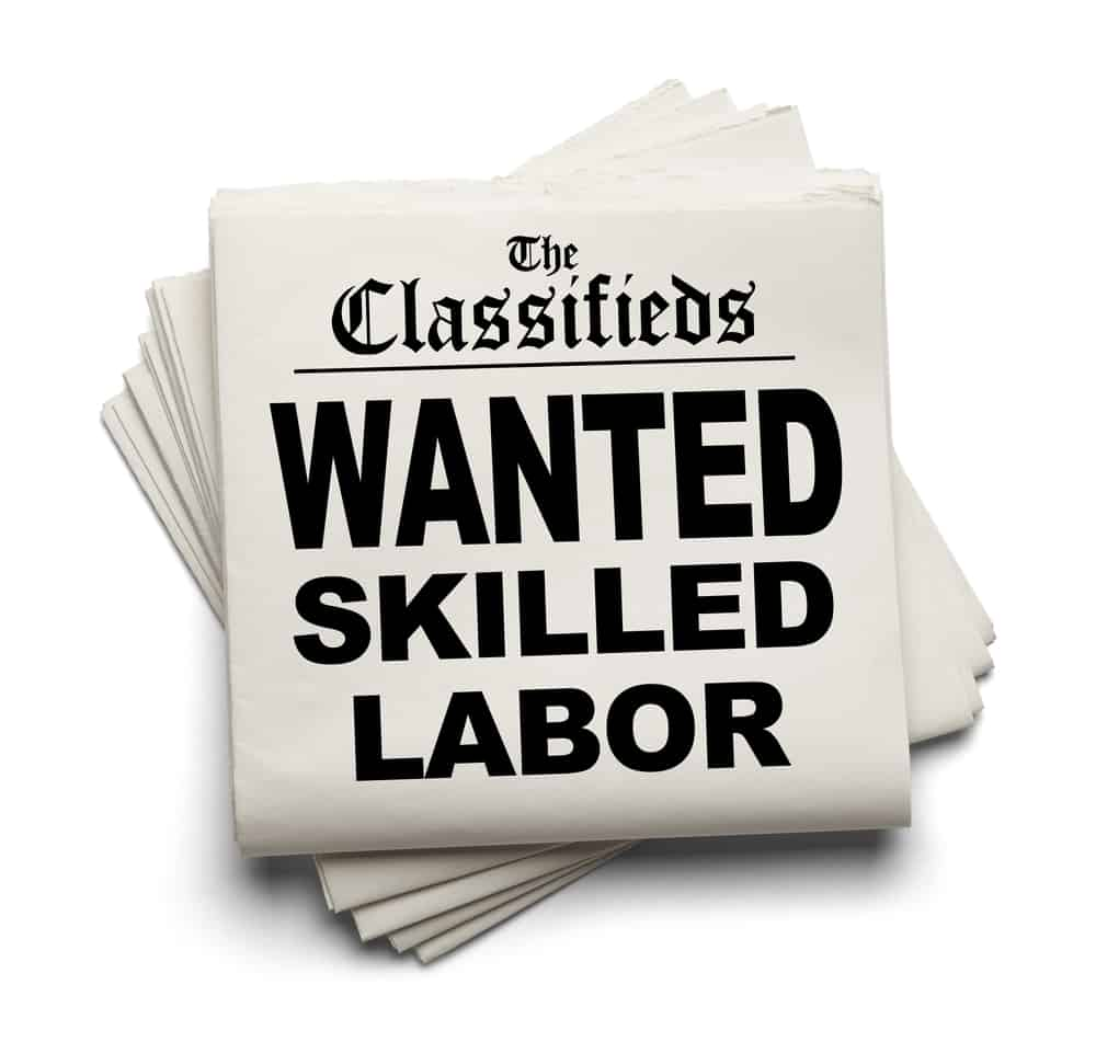Classified Ad addressing the welder shortage of 2020