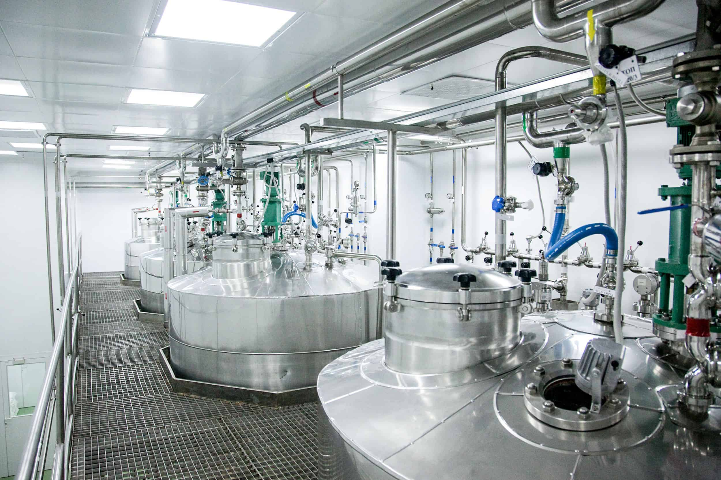Pressure vessels in pharmaceutical processing plant