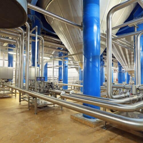 Industrial space showing welding food grade stainless steel