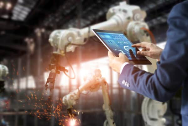 Robotic arms and operator display digital transformation in manufacturing